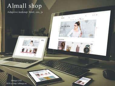 Adaptive layout Almall Shop HTML5 + CSS3 + JS / JQuery