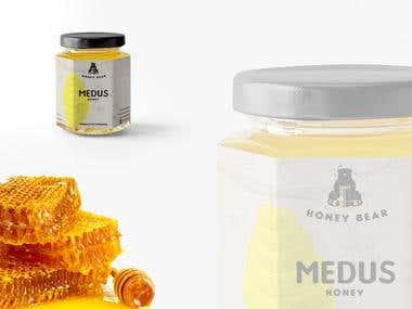 Bear honey logo and packaging design.
