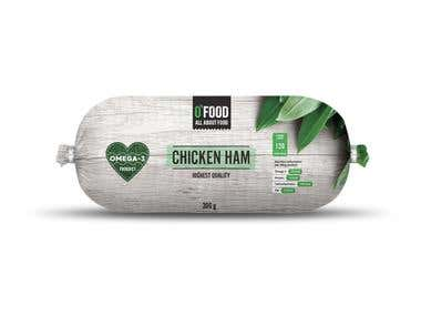 One of the designs from new sausage line packaging - chicken