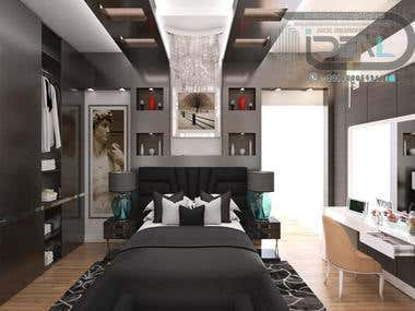 Black & White Bed Room Of Villa Khattab