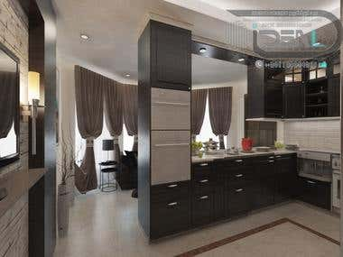 Dark Brown Kitchen Of Villa Khattab
