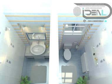 3D Plan OF Toilet Interior