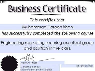 my marketing certificates