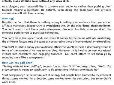 Affiliate Sales - How to Sell without Even Selling