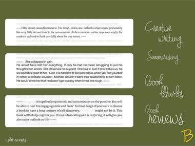 Book blurbs & Book reviews ▪ Creative writing ▪ Summarising