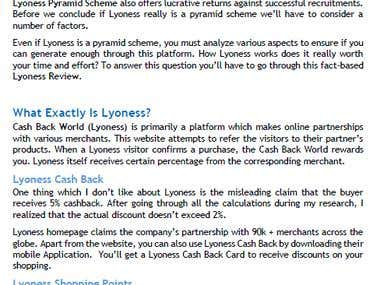 Scam or Legit - Lyoness Pyramid Scheme