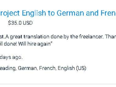 English To French and German Translation