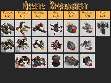Voxel Lowpoly 3D Space Models