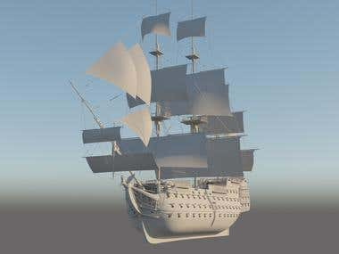 Pirate Ship 3D Model For CGI Project