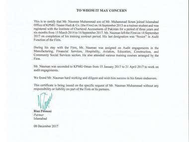 KPMG Pakistan - Experience Certificate