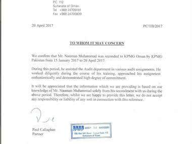 KPMG Lower Gulf - Experience Certificate