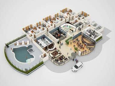 2D and 3D floor plan