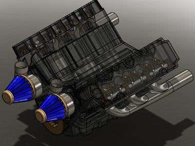 SolidWorks Engine Assembly RealView 02