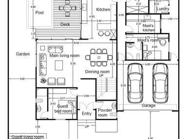 villa cad plan design