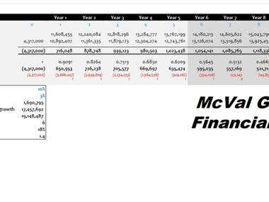Financial Model for McVal group
