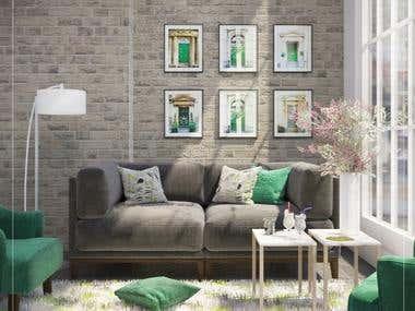 Modern Living Room ( Green Touch )