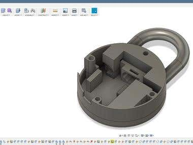CAD modelling a pad lock prototype for 3d printing