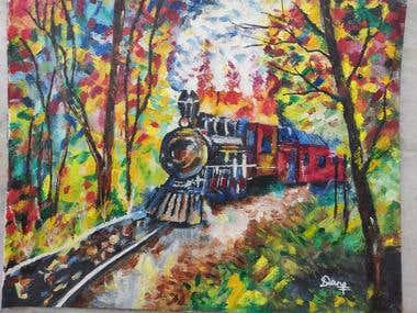 Train moving through forest
