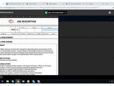 Writing of Job Description