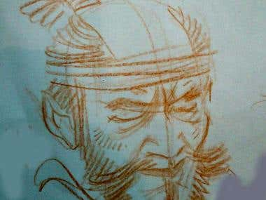 Sketches and studies of Japanese people portraits