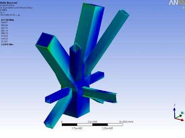 3D Complex Steel connection design by ANSYS FEM software