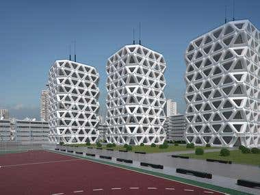 Architectural project, a residential building.