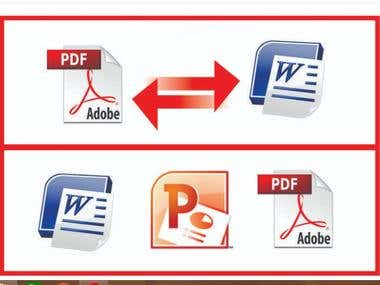 PDF to Excel/Word/Power Point and vise-versa.