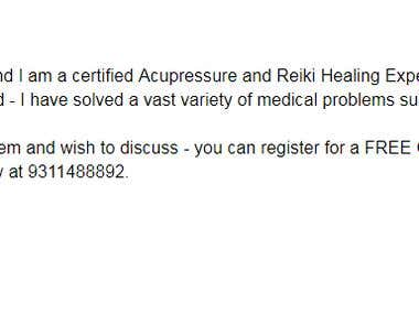 Acupressure and Reiki Healing Expert - Pitch for Whatsapp