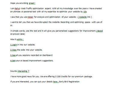 Cold email to pitch a offer a Website monitoring tool.