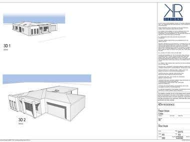 Revit 3D model and 2D Architectural set of drawings.