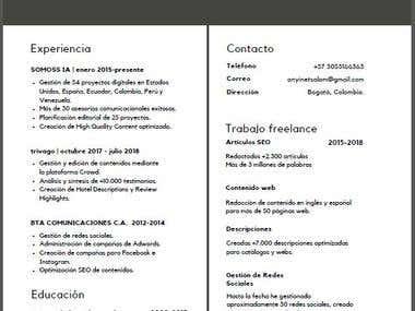 CV Anyi Salom - Trabajo Freelance