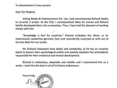 Letter of Recommendation from Viiking Media & Entertainment