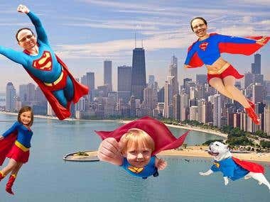 Make a Family Portrait into Superheroes.