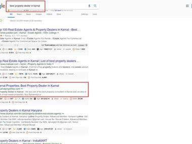 First Page Ranking on Google.co.in