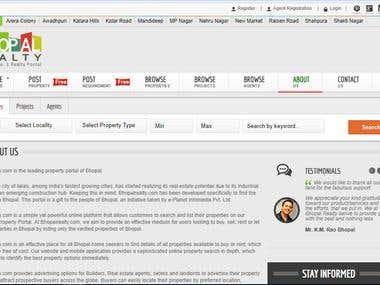 Website in C#.NET for Bhopal Realty