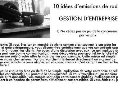 Rédaction en français de 10 titres pour une émission radio