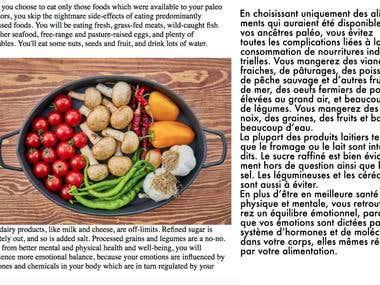 English to French translation on Paleo diet