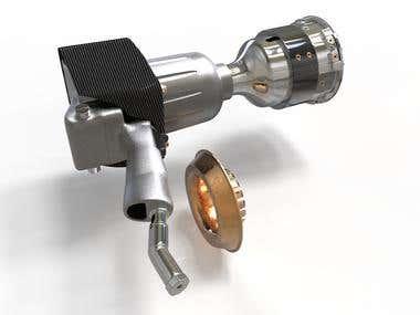 3d render Wheel gun
