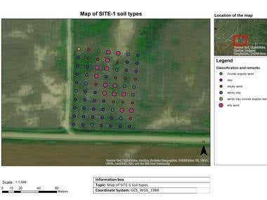 Soil types mapping using sample data