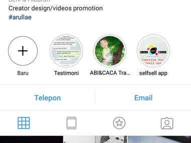 Akun Instagram beserta testimoni