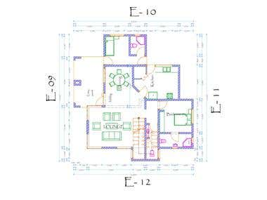 Schematic drawings to hall of residence manager's quarters.