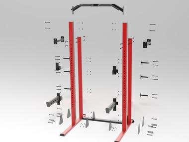 Squat Rack 3D Design Solidworks + Keyshot rendering + Manual