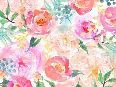 Blush bridal watercolour pattern