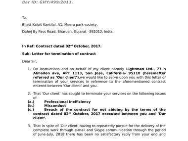 Letter of Termination of a Contract
