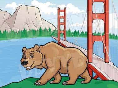 Illustration of California symbols