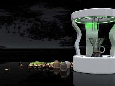 Coffee machine design and render