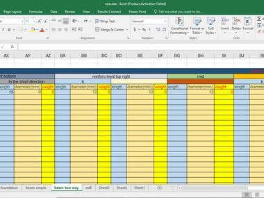 Program design in Excel (Calculation quantities)