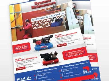 A4 Flyer for two custom build air compressors