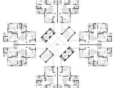 20 storied apartment complex (2d Graphics)