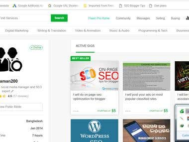 My FIVERR account activities and clients reviews